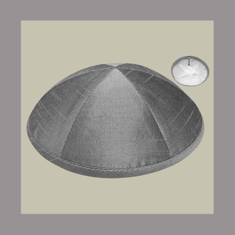 Grey Raw Silk Kippah