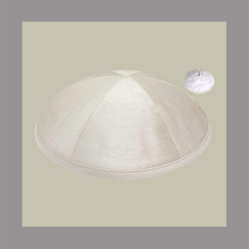 Ivory Raw Silk Kippah