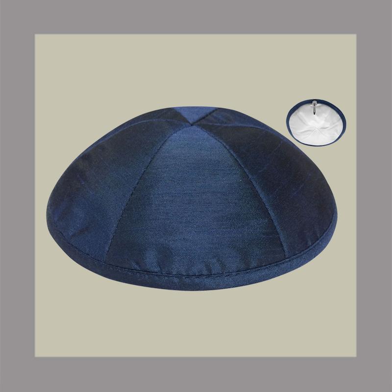 Navy Raw Silk Kippah