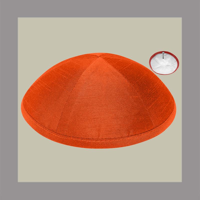 Orange Raw Silk Kippah