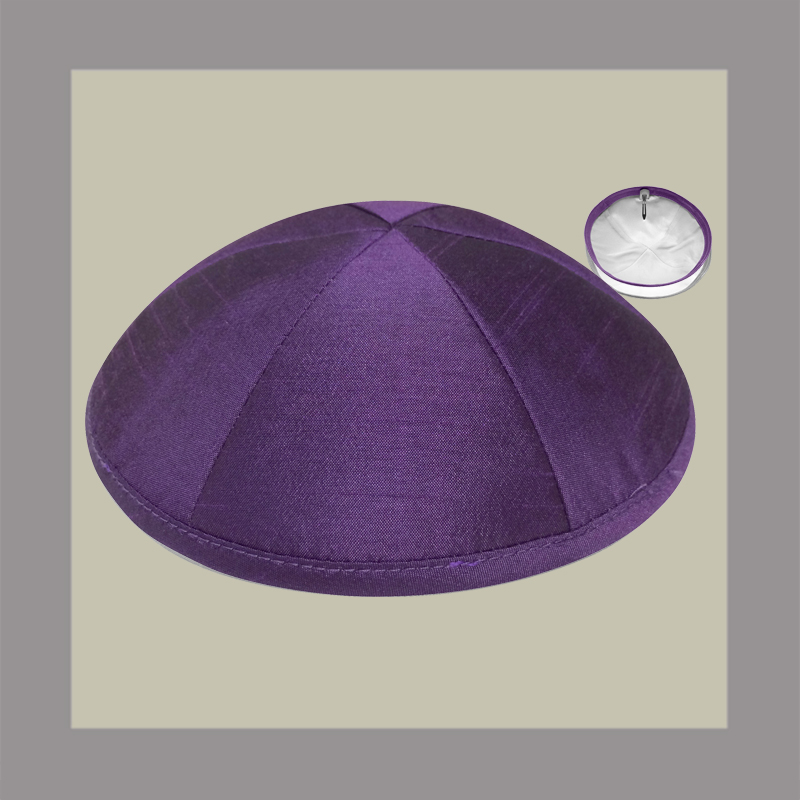 Purple Raw Silk Kippah